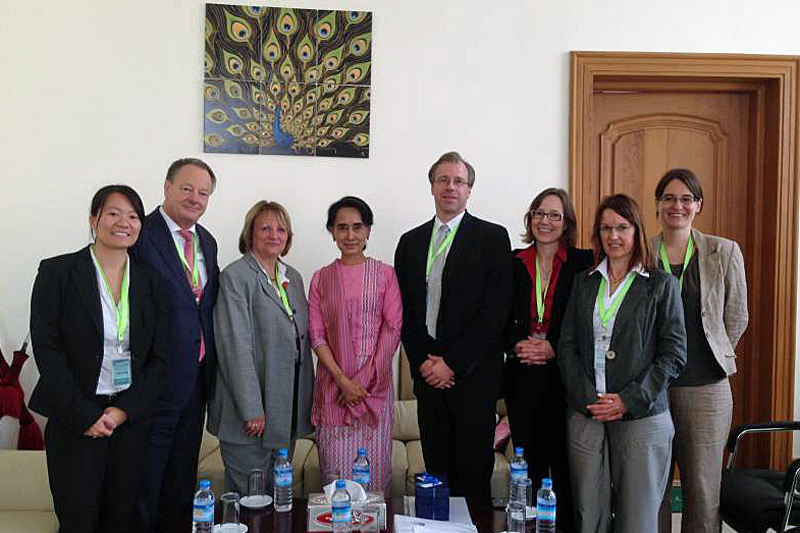 German delegation meeting Nobel Peace Prize Laureate Aung San Suu Kyi in Naypidaw on 28 March 2014