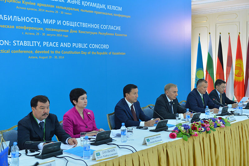 From left to right – A. Daulbayev, Chief Public Prosecutor Republik Kazakhstan(RK); G. Abdykalikova, Vice Prime Minister of RK; A. Dzhaksybekov, State secretary of RK; I. Rogov, Chairman of the Constitutional Council of RK; B. Imashev, Minister of Justice of RK; A. Shakirov, Representative for Human Rights in the RK