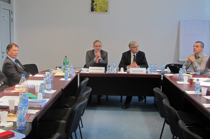 From left to right: E. Pfaff, Presiding Judge at the Higher Regional Court of Munich; Dr P. Schneiderhan, Senior Public Prosecutor in Stuttgart and Member of the Executive Committee of the German Association of Judges; M.l Haußner, State Secretary, ret. and Permanent Advisor to the Montenegrin Minister of Justice.