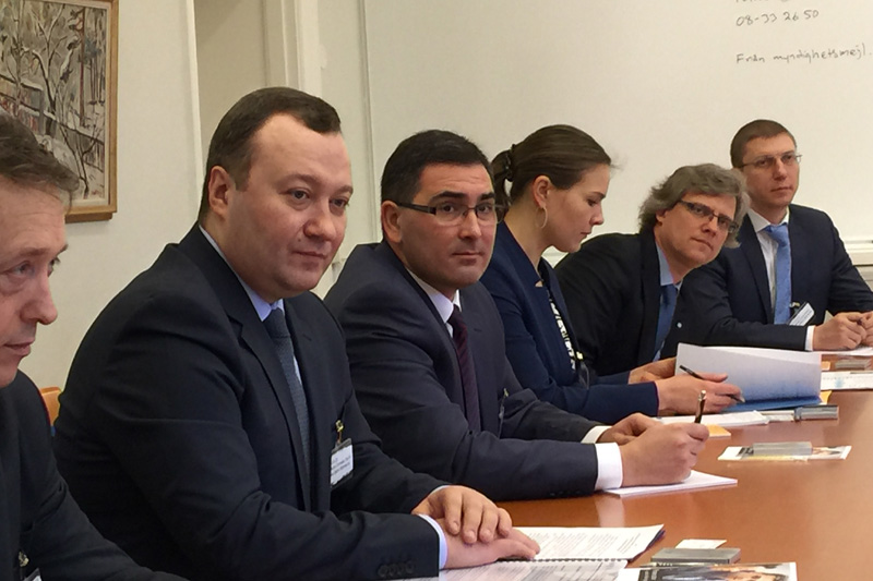 The delegation at the Office of the Prosecutor General in Stockholm; second from left Corneliu Gurin, General Prosecutor of the Republic of Moldova together with other high ranking prosecutors from Moldova