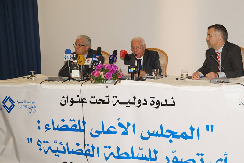 Minister of Justice, Mr Mohamed Saleh Ben Issa; Rachid Sabbagh, Minister of Defence, ret., Honorary President of the Administrative Court and President of the Court of Cassation, ret.; Patrick Schneider, IRZ (left to right)