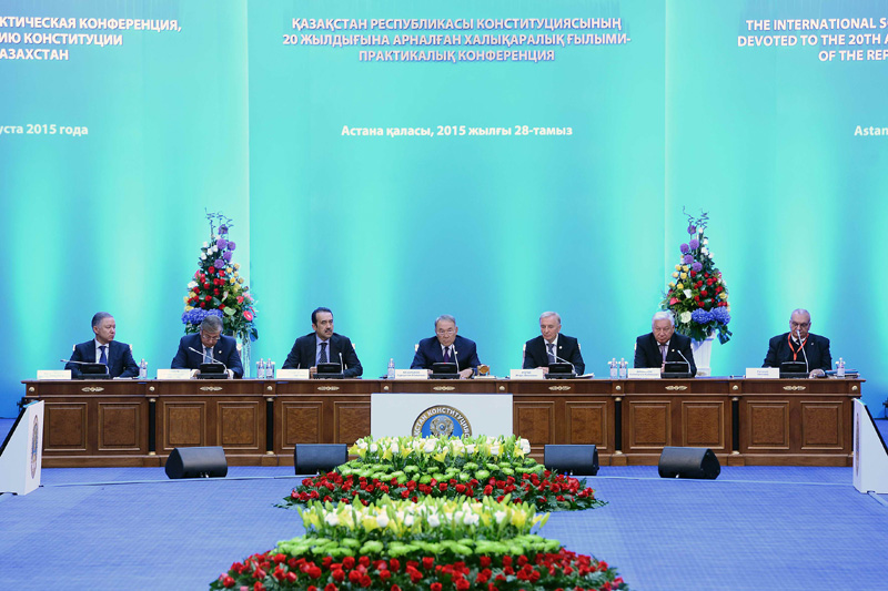 N. Nigmatulin, Head of the Presidential Administration of RK; K. Tokayev, Chairman of the Senate of the Parliament of RK; K. Masimov, Prime Minister of RK; N. Nazarbayev, President of RK; I. Rogov, Chairman of the Constitutional Council of RK; K. Dzhakupov, Chairman of the Majilis of the Parliament of RK; E. Tancev, Vice-President of the Venice Commission (from left to right)