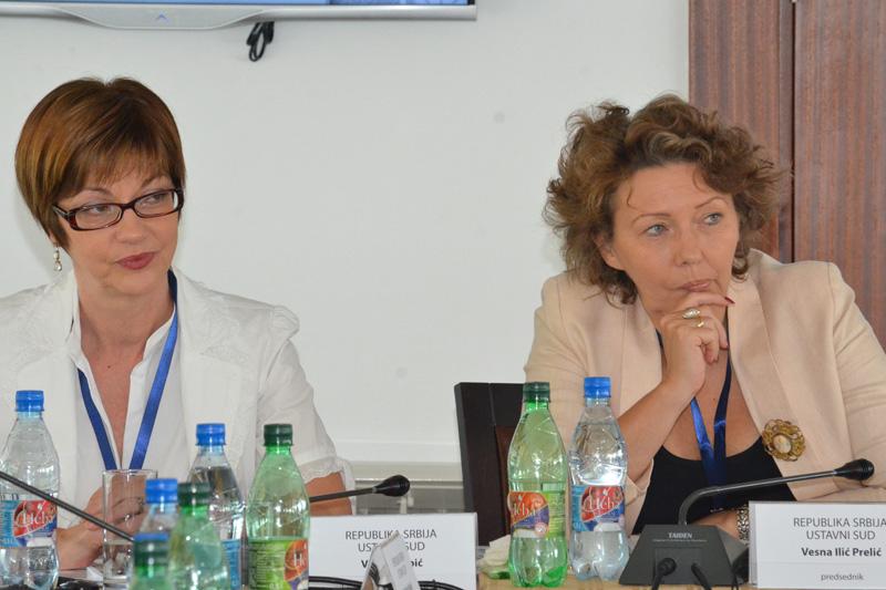 Vesna Ilić Prelić, President of the Constitutional Court of Serbia, and Vesna Dabic (left), Press Spokeswoman for the Constitutional Court of Serbia