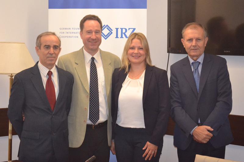 Kujtim Osmani, Prof. Jan Bergmann, Elke Wendland (IRZ), Aleksander Toma (from left to right)