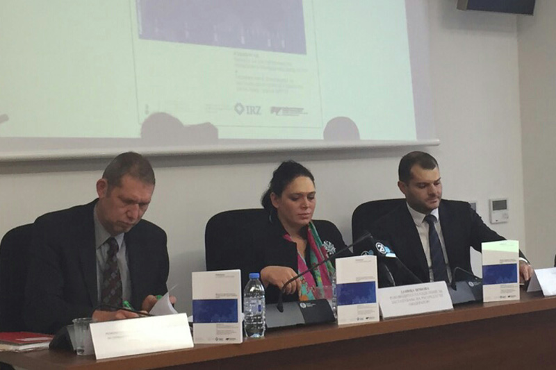 Contributors of the conference were: Dr. Stefan Pürner, IRZ; Danica Djonova, moderator, Office of the Government Representative; Kosta Bogdanov, Macedonian Government Agent before the Strasbourg Court (from left to right)
