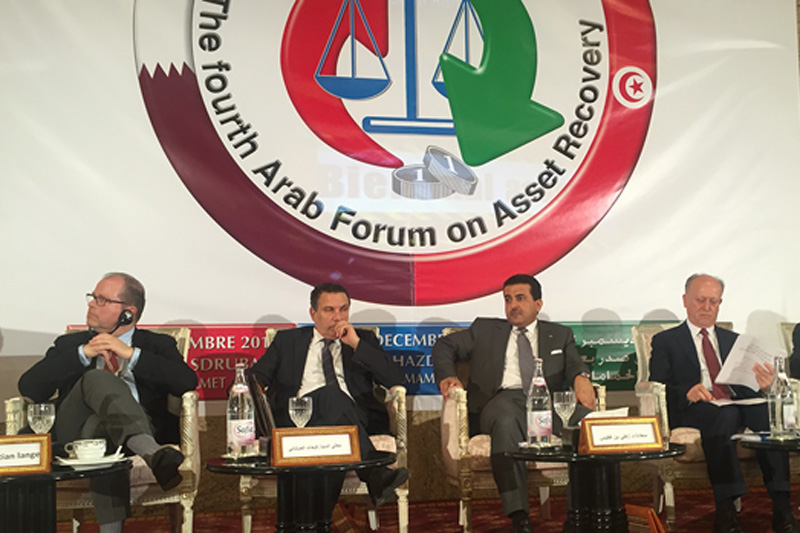 Christian Lange (left), Secretary of State at the BMJV, at the Arab Forum on Asset Recovery in Hammamet, Tunisia (photo: BMJV)