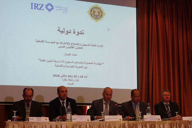 Opening of the conference by the Director of the Tunisian Prison Service, Sabeur Khefifi (centre), and the legal advisor for the IRZ in North Africa, Montasser Abidi (2nd from left)