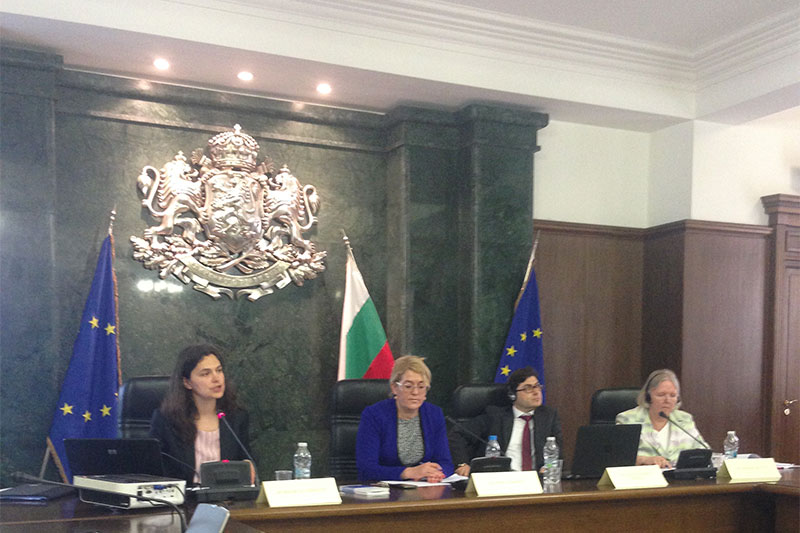 Presentation of the project: Kremena Ehrmann, IRZ advisor for the cooperation with Bulgaria; Daniela Mascheva, Bulgarian public prosecutor's office; Cătălin Andrei Popescu, Romanian public prosecutor's office; Barbara Wüsten, Weißer Ring (left to right)
