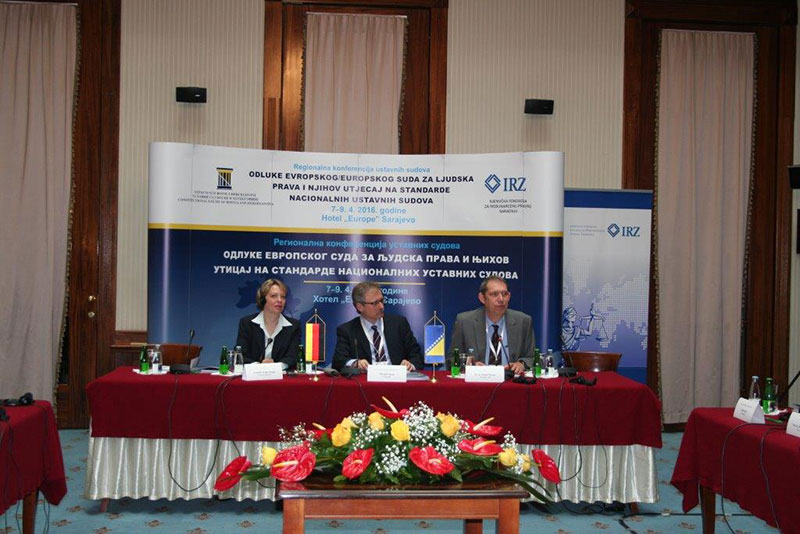 Opening of the conference: Veronika Keller-Engels, director of the IRZ; Mirsad Ceman, Chairman of the Constitutional Council of Bosnia and Herzegovina; Dr Stefan Pürner, IRZ