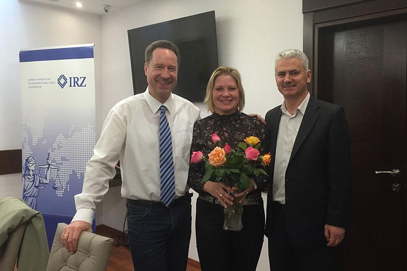 Prof. Dr. Jan Bergmann; Elke Wendland, IRZ; Koco Bendo, IRZ representative in Albania (left to right)