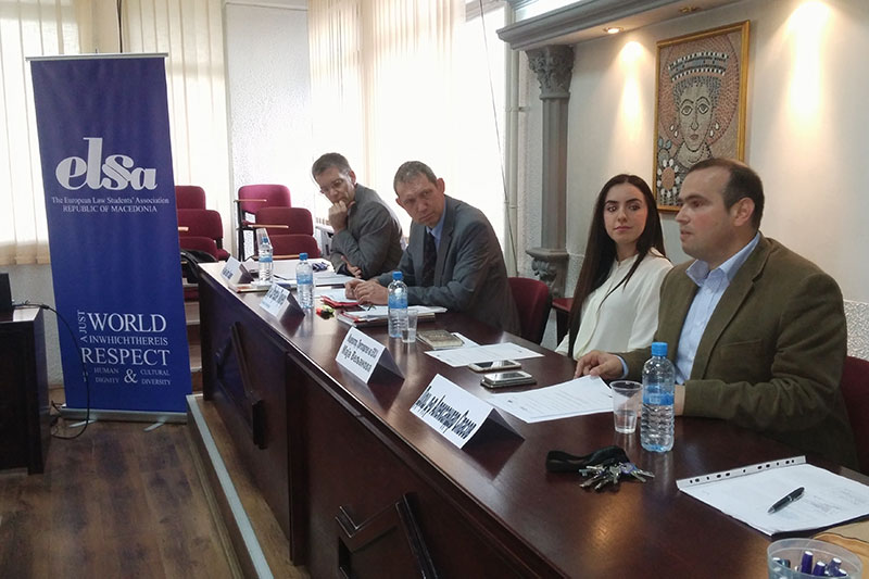 Lecturer Dr. Aleksandar Spasov introduces the joint event with EL§A Skopje at the university