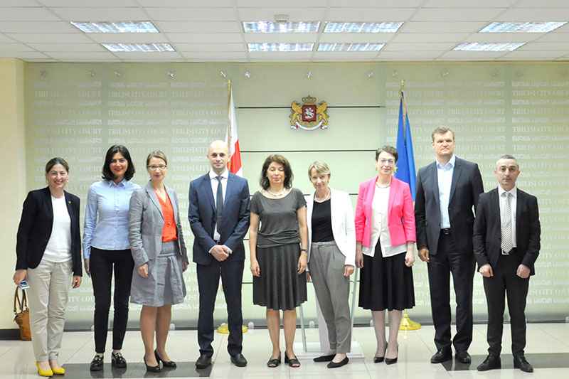 The delegation visits the municipal court of Tbilisi: Giorgi Mikautadze, President of the municipal court (4th from right)