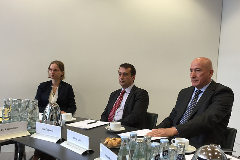 Dr. Beatrix Lindner, speaker for the BMJV;  Saša Čadjenović, specialist public prosecutor for Montenegro; Milivoje Katnić, head of the specialist public prosecutor