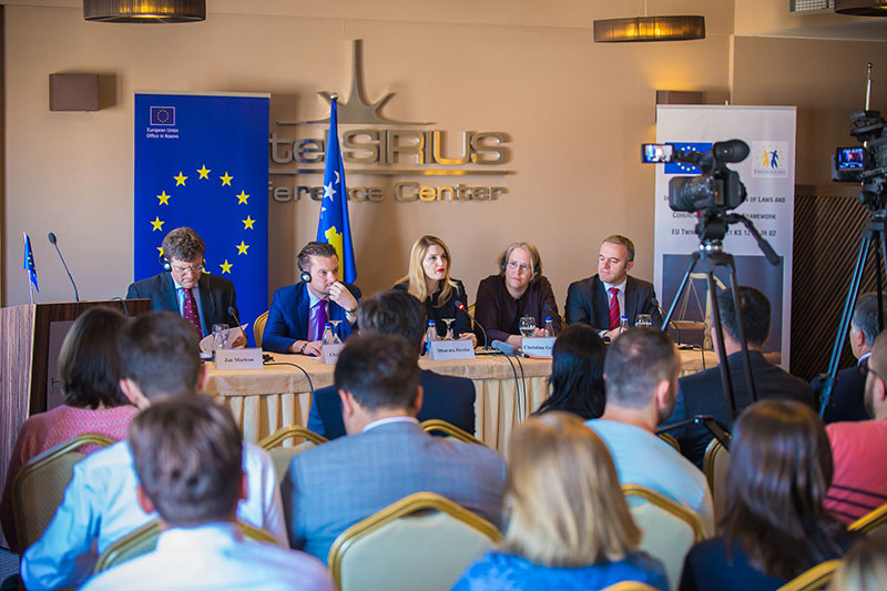 Project Leader Jan MacLean, IRZ; Christof Stock, EU; Minister of Justice Dhurata Hoxha;  Christina Gehlsen, German Embassy; Project Leader Mentor Borovci (from left to right)
