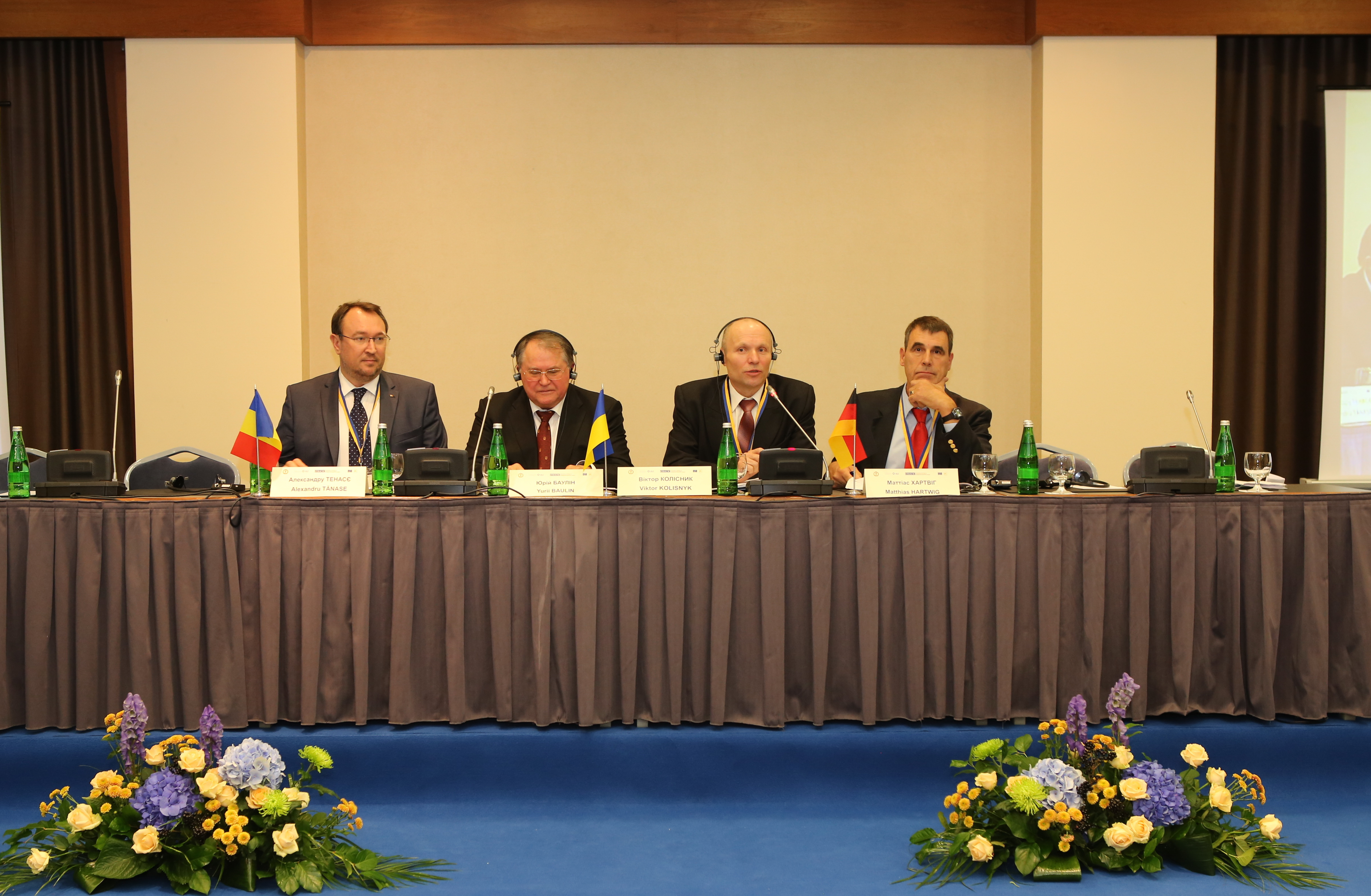 Alexandru Tanase, President of the Constitutional Court of the Republic of Moldova; Yurii Baulin, Chairman of the Constitutional Court of Ukraine; Victor Kolisnyk, Judge of the Constitutional Court of Ukraine; Matthias Hartwig, Max Planck Institute for Comparative Public Law and International Law (left to right).