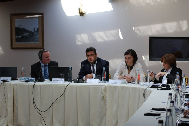 Dr. Kornelius Kleinlein (left), lawyer and notary, Rechtsanwaltskanzlei Raue LLP Berlin (1st from left); lawyer Davit Lanchava (2nd from left), Georgian Bar Association, member of the Commercial Law Committee; Khatuna Fureliani (right), President of the Georgian Lawyers for Independent Profession