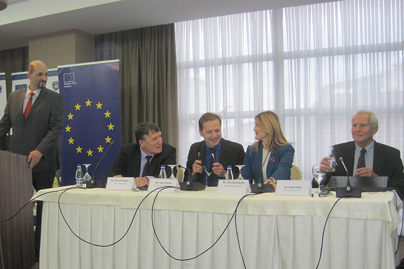 During the closing event: RTA Stephan Schnaars, IRZ; Bajram Bujupi, project leader on the Kosovar side; Libor Chlad, EU; Minister of Justice Dhurata Hoxha; Dr. Peter Best,IRZ project leader (from left to right)