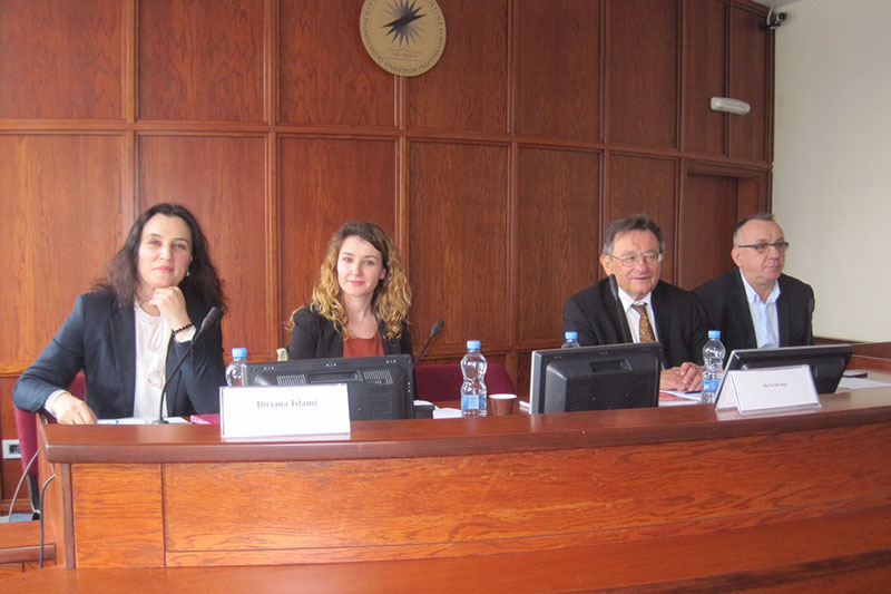 Faculty of Law Pristina: Vice-Dean Prof. Dr. Iliriana Islami; Nevila Saja and Prof. Dr. Rainer Arnold, appointed by the IRZ; Prof. Dr. Enver Hasani, former President of the Constitutional Court of Kosovo (from left to right)