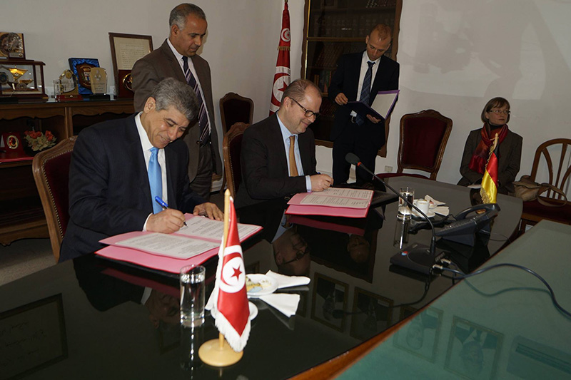 Ghazi Jeribi (left), Minister of Justice for the Republic of Tunisia, and the Parliamentary Secretary of State at the German Federal Ministry of Justice and Consumer Protection (BMJV), Christian Lange (MdB) (photo: BMJV)