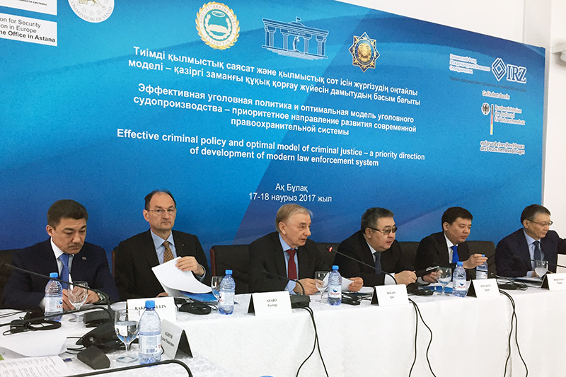 A. Rakhmetulin, Chairman of the criminal division at the Supreme Court; G. Szabó, Head of the OSCE Programme Office; I. Rogov, Chairman of the Constitutional Council; T. Donakov, Deputy Head of the Presidential Administration; M. Beketayev, Minister of Justice; Y. Kenenbayev, Deputy Prosecutor General (from left to right)