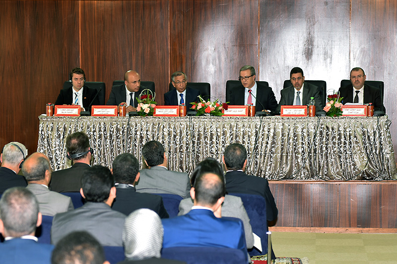 Opening of the conference: the Moroccan Minster of Justice, Mohamed Aoujar (at the microphone), the Secretary General of the Ministry of Justice, Abdelillah Bennani (on the right), the President of the High Judicial Council, Mustafa Fares (3rd from left)