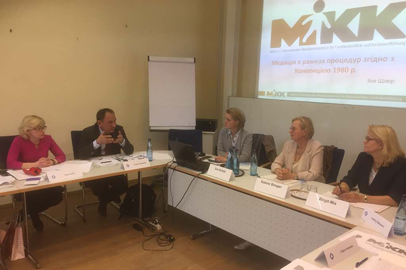 Expert talks about the HCCA. Birgit Mix, Federal Office of Justice; Sabine Brieger, Local Court Judge; Zoë Schlär, MiKK e. V.; Olga Zozulia, Head of Sub-Division at the Ministry of Justice of Ukraine (from right to left)