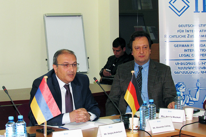 Sergey Arakelyan (on the left), Director of the Armenian Judicial Academy; Alexander Fühling,  a judge at the local court of Bonn