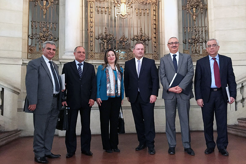 The Tunisian guests on their visit to the Public Prosecutor General's Office in Berlin with Dirk Feuerberg, Senior Public Prosecutor and Deputy Director (3rd from right)