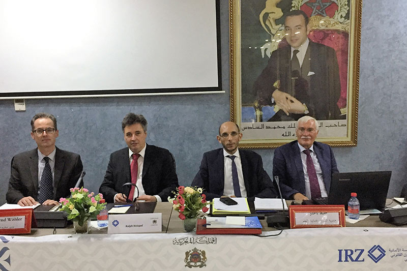 The experts participating in the seminar: Prof. Hansjürgen Bratzke, Hafid Bahaddouh, Senior Public Prosecutor Ralph Knispel, Dr. Arnd Wöhler (IRZ) (from right to left)