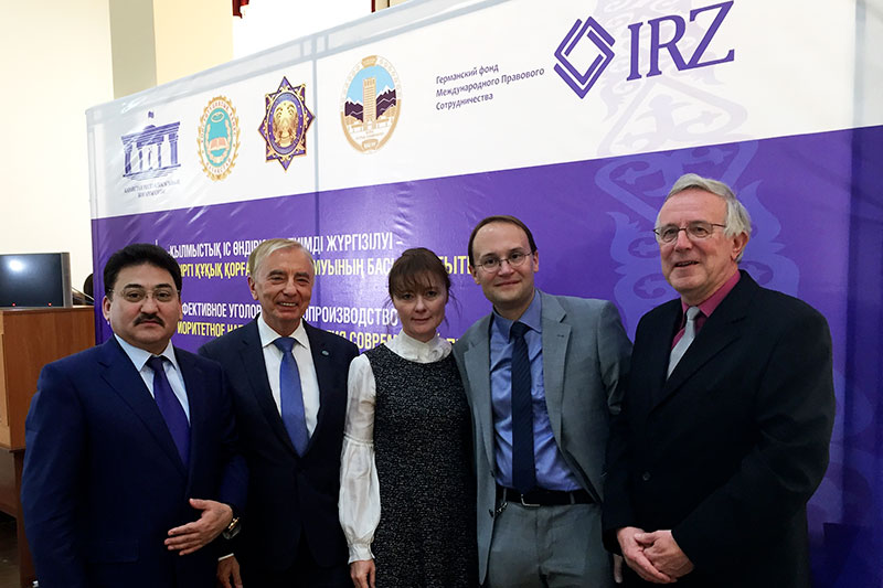 Gabit Mirazov, Senior Public Prosecutor in Almaty; Igor Rogov, Chairman of the RK Constitutional Council;  Helene Philippsen, IRZ; Prof. Dr. Bijan Nowrousian, University of Applied Sciences for Public Administration and Management; Reinhard Müller, Deputy Director of the local court of Rendsburg (from left to right)