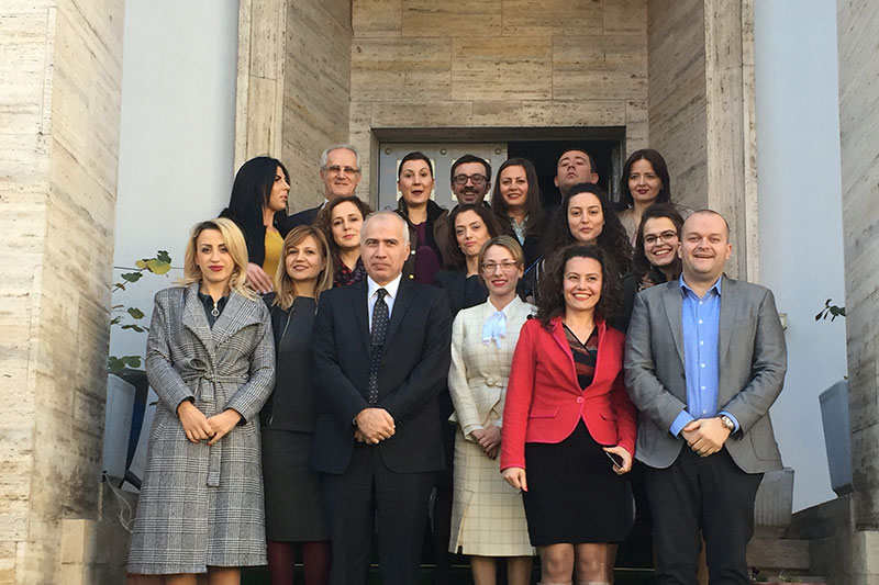 The participants in the seminar on asylum law in front of the Supreme Court in Albania
