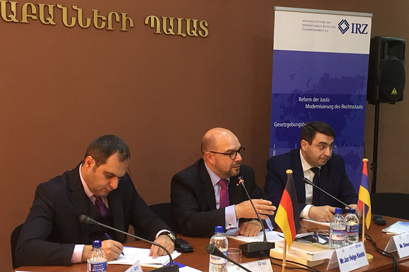 Ara Zohrabyan, President of the Lawyers' Association of the Republic of Armenia; Jan Helge Kestel, President of the Bar Association of Thuringia; Simon Babayan, Director of the School of Advocates of the Republic of Armenia(from left to right)