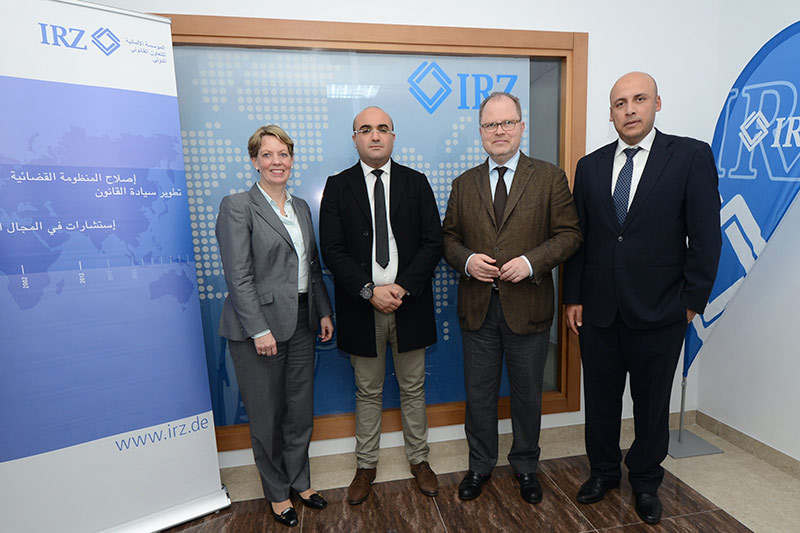 Veronika Keller-Engels, IRZ Managing Director; Hichem Dkhili, Head of the IRZ office in Tunisia; Christian Lange, parliamentary Secretary of State the BMJV; Mohamed Abidi, Head of Section for North Africa and the Middle East (IRZ) (from left to right)