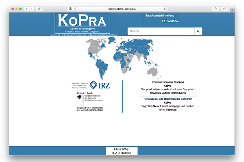 Screenshot of the KoPra website
