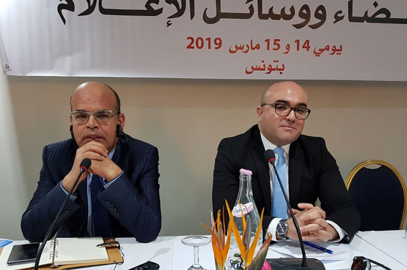 Youssef Bouzakher (left), President of the Supreme Judicial Council, and Hichem Dkhili, IRZ office manager in Tunis