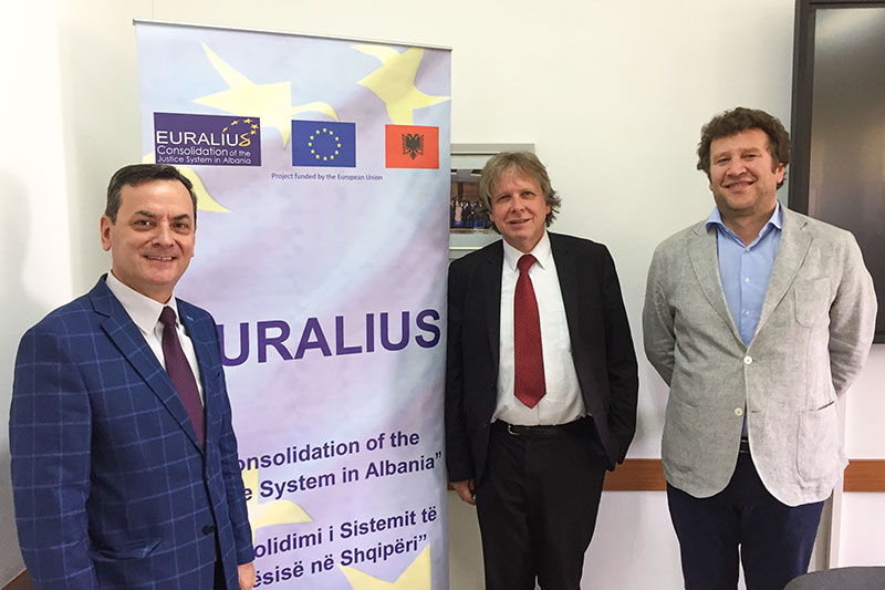 Prof. Dr. Sokol Sadushi, President of the Albanian School of Magistrates; Prof. Dr. Bernd Heinrich, University of Tübingen; Dr. Idlir Peci, an international expert at EURALIUS (from left to right)