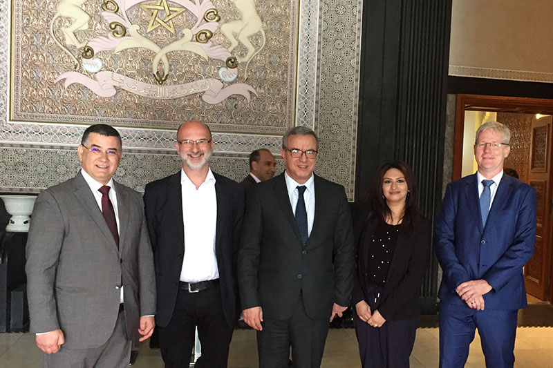 Mohamed Aujjar, Minister of Justice of the Kingdom of Morocco, (centre) together with Taoufik Maimouni, President of the Committee for Justice, Legislation and Human Rights in the Moroccan parliament, Prof. Dr. Michael Bohnert, Head of the Institute of Legal and Forensic Medicine at the University of Wuerzburg; Asma Dhib, IRZ; Andreas Stüve, Chief Public Prosecutor, Public Prosecutor's Office of Düsseldorf (from left to right)