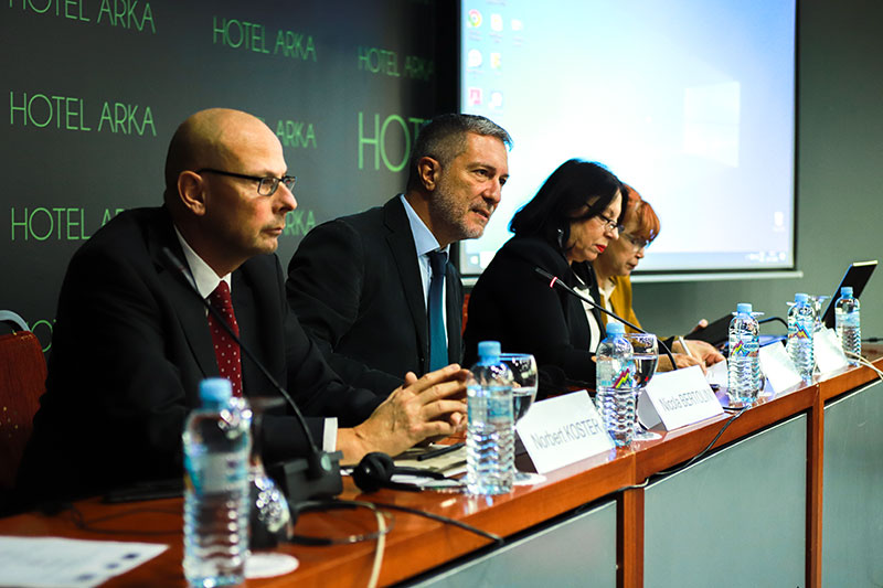 Project Manager Norbert Koster; Nicola Bertolini, EU Delegation for North Macedonia; Project Manager Gordana Smakjoska; Public Prosecutor Vilma Ruskovska,  Specialist Public Prosecutor's Office for Fighting Organised Crime and Corruption in North Macedonia (from left to right)