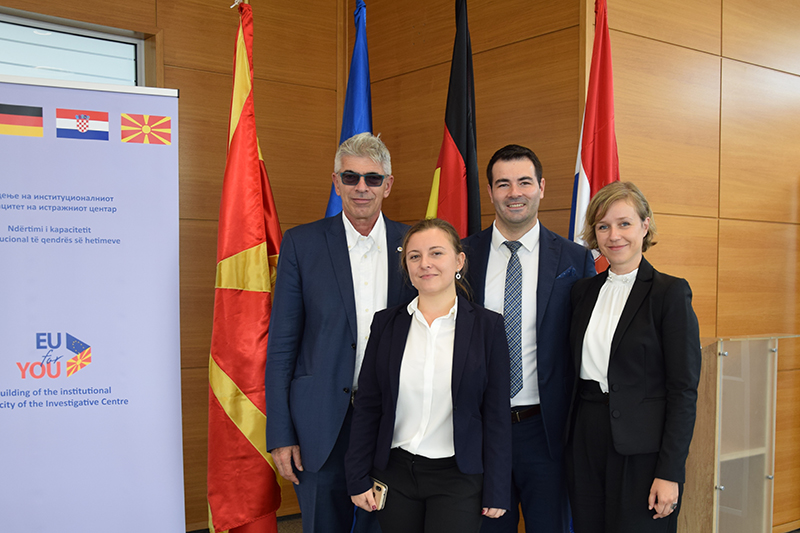 Resident Twinning Adviser (RTA) Benedikt Welfens, RTA Assistent Iva Simonovska Trenevska, RTA Counterpart North Macedonia Boro Ilkoski, RTA Language Assistent Jana Dimitrovska (from left to right)