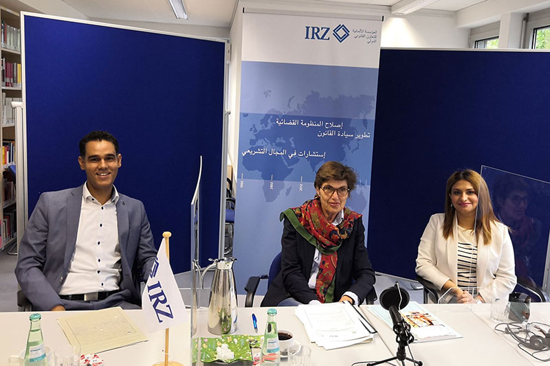 IRZ expert Dr. Dorothee Weckerling-Wilhelm (centre), head of department at the German Federal Ministry of Justice and Consumer Protection, with IRZ head of section, Sidi Mohamed Khairy (left) and IRZ project manager Asma Dhib