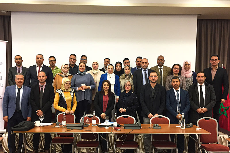 "Participants and speakers at the seminar on ""The humane treatment of prisoners in Moroccan prisoners"" in Tangier"