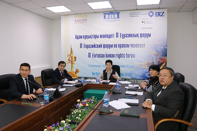 During the 2nd Eurasian Human Rights Forum: Zauresch Baimoldina (centre), Head of the Law Academy of the Supreme Court of the Republic of Kazakhstan