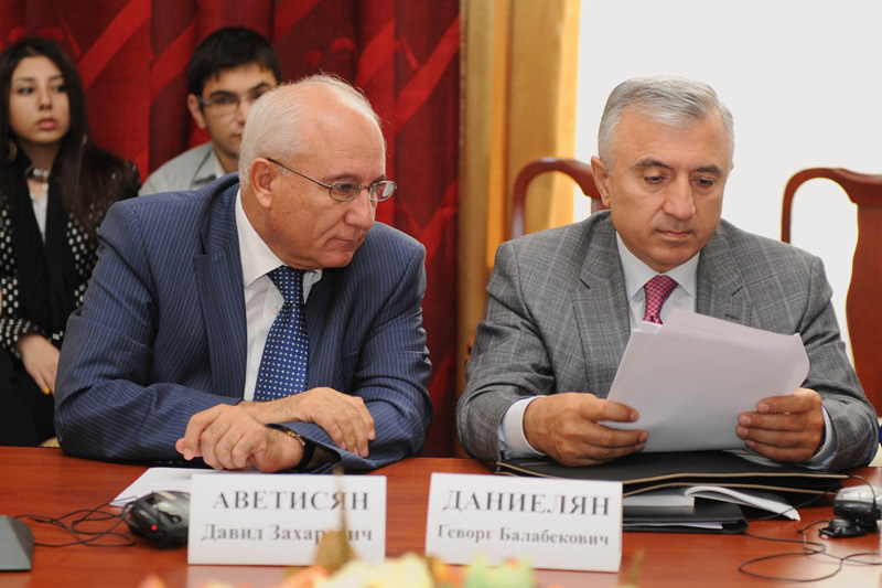 David Avetisyan, President of the Criminal Chamber of the Court of Cassation (on the left) and Gevorg Danielyan, advisor to the Constitutional Court, on the occasion of the International Conference of the State University of Yerevan