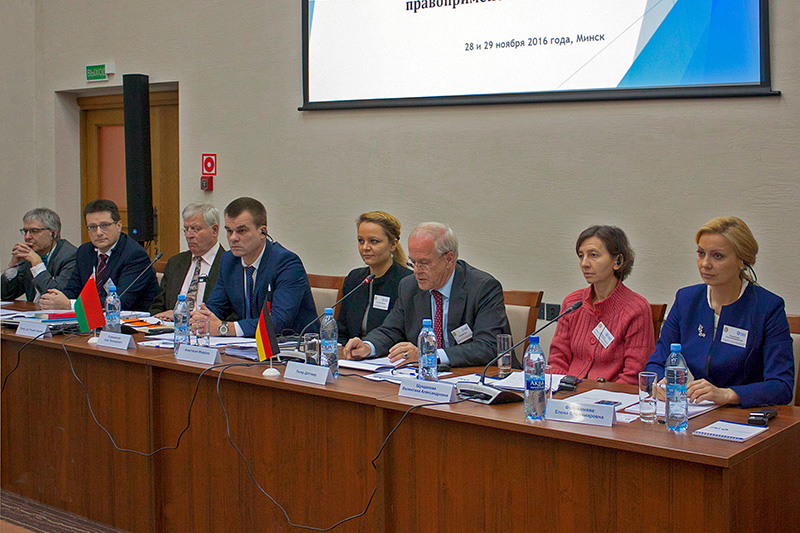 "Opening of the specialist conference in Minsk on the topic ""Legislative procedure, legislative technique and regulatory impact assessment "" with the Belarus Minister of Justice Oleg Slizhewski (4th from left) Picture: Justicija Belarusi (Юстиция Беларуси)"