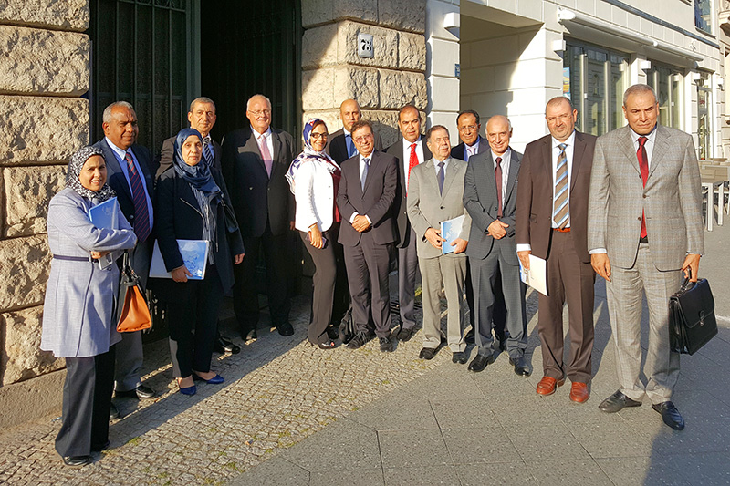 Deputy Minister of Justice Abdelilah Lahkim Bennani (2nd from right) for discussions in Berlin
