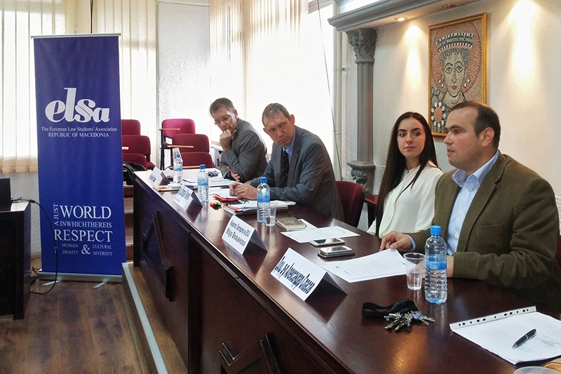 Dr. Aleksandar Spasov (right) during his introduction to the joint event with ELSA (European Law Students Association) Skopje on the abuse of civil law during the National Socialist regime