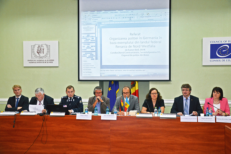 "Opening speech by the Deputy Minister of Justice Anatolie Munteanu (2nd from right) at the seminar ""Cooperation of the criminal prosecution bodies and improvement in the effectiveness of criminal prosecution"" in Chișinău"