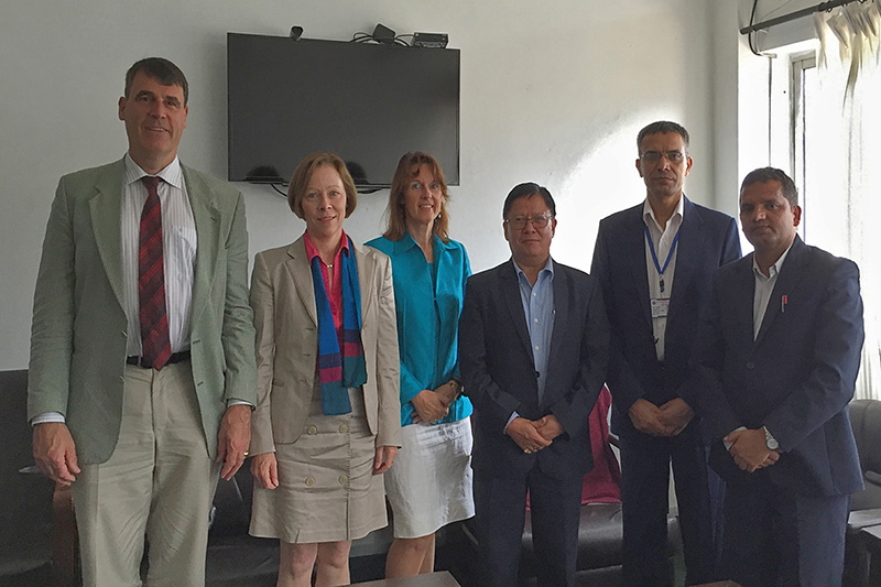 Visit to the Ministry for Federalism and Local Development:  Dr. Matthias Hartwig, Sieglinde von Wasielewski and Angela Schmeink, IRZ; Mohan Gurung, Secretary of State; Dr. Hari Paudel, Joint Secretary (from left to right)