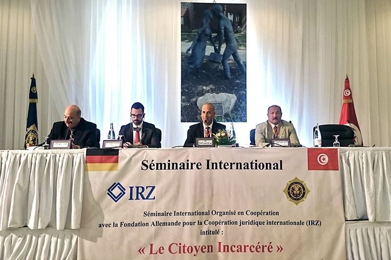 "Conference to reform the prison system in Tunisia on the topic of ""The imprisoned citizen"" in Tunis with the Head of the Prison Service, Sabeur Khefifi (2nd from right)"