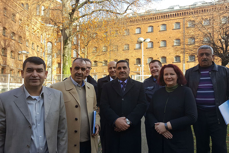 "Study trip to Berlin on the topic of ""Basic and further training of inmates in the prison system"": Among others, Ahmed Al Kafaween, Head of the Jordanian law enforcement authorities; Colonel Ahed Al Sharaydeh, Head of the Further Education and Training Academy of the Jordanian penal system; Anke Stein, Head of the Moabit prison facility"